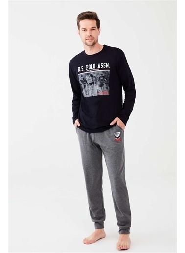 U.S. Polo Assn. U.S. Polo Assn. Erkek Kırmızı Yuvarlak Yaka Pijama Takım Lacivert